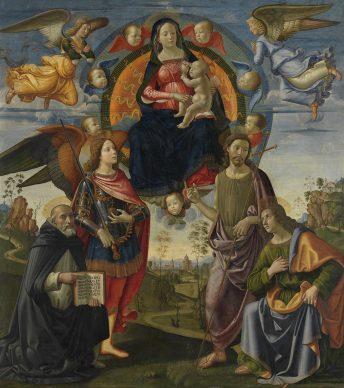Domenico Ghirlandaio (and Workshop), Virgin and Child with Saints Dominic, Michael, John the Baptist and Thomas, c. 1490/94. Panel (poplar) 223,9 x 201,4 cm © Bayerische Staatsgemäldesammlungen, Alte Pinakothek, Munich