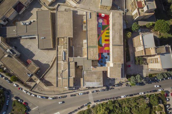 Hense, RAGUSA SUN, FestiWall 2018, photo da drone by Piero Sabatino