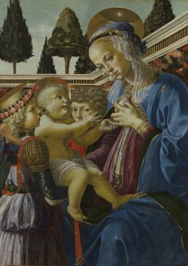 Andrea del Verrocchio and Workshop, Virgin and Child with Two Angels, c. 1467/69 Panel 69,2 x 49,8 cm London, The National Gallery © The National Gallery, London. Salting Bequest, 1910