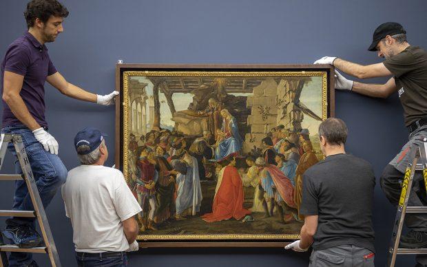 Sandro Botticelli, The Adoration of the Magi, c. 1475 Panel 111 x 143 cm Florence, Galleria degli Uffizi © Florence, Gabinetto Fotografico delle Gallerie degli Uffizi Photo: Haydar Koyupinar, Bayerische Staatsgemäldesammlungen