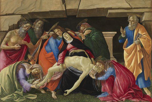 Sandro Botticelli, The Lamentation, c. 1490/95. Panel (poplar) 140 x 209,2 cm, Condition after restoration © Bayerische Staatsgemäldesammlungen, Alte Pinakothek, Munich