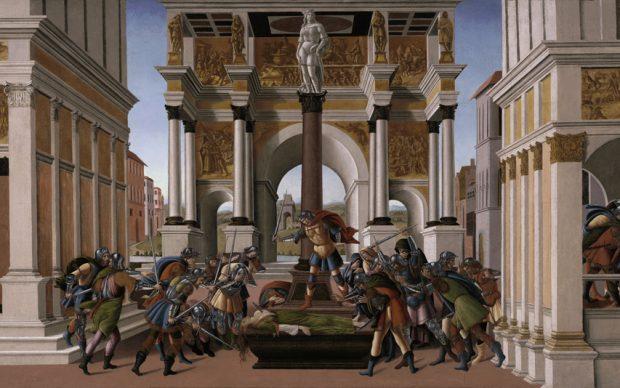 Sandro Botticelli (Alessandro di Mariano Filipepi) Storia di Lucrezia 1505 circa, tempera e oro in conchiglia su tavola, cm 83,3 x 176,8 Boston, Isabella Stewart Gardner Museum