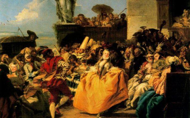 Giandomenico tiepolo, scena di carnevale, o minuetto, 1754-55 ca