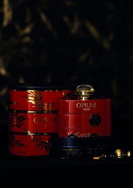 Bottle of the fragrance Opium, Musée Yves Saint Laurent Paris © Yves Saint Laurent / photo Sophie Carre