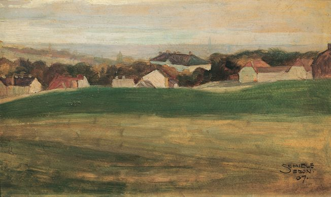 Egon Schiele, Meadow Landscape with Houses, 1907 Private collection © Belvedere, Vienna Oil on cardboard, 21.3 × 35.2 cm