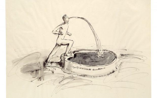 Bruce Nauman. Myself as a Marble Fountain. 1967. Ink with wash, 19 × 24″ (48.3 × 61 cm). Emanuel Hoffmann Foundation, on permanent loan to the Öffentliche Kunstsammlung Basel. © 2018 Bruce Nauman/Artists Rights Society (ARS), New York. Photo: Kunstmuseum Basel, Martin P. Bühler