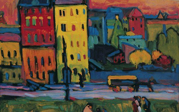 Wassily Kandinsky, Case a Monaco, 1908, Olio su tela, © Von der Heydt-Museum Wuppertal / Photo: Antje Zeis-Loi, Medienzentrum Wuppertal