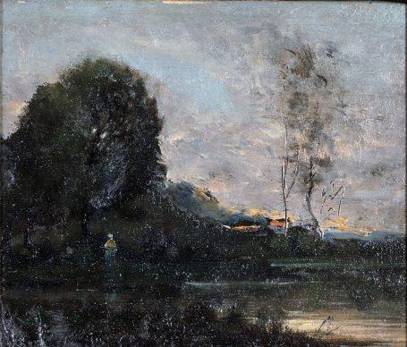 Jean Baptiste Camille Corot, Paesaggio, olio su tela, cm 15,2 x 18, 2