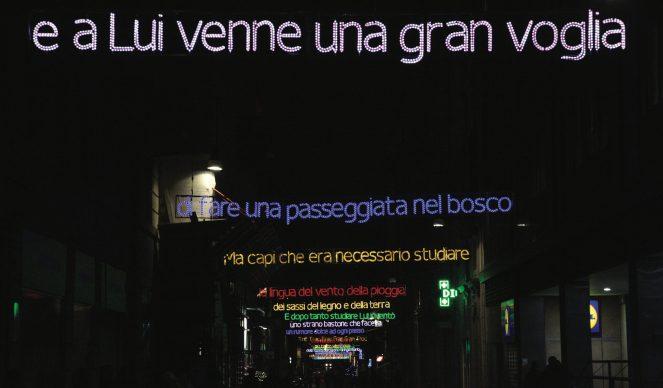 Torino, Luci d'Artista 2013-14. Nella foto: Luigi Mainolfi, Luì e l'arte di andare nel bosco © www.comune.torino.it, foto di Max Chicco