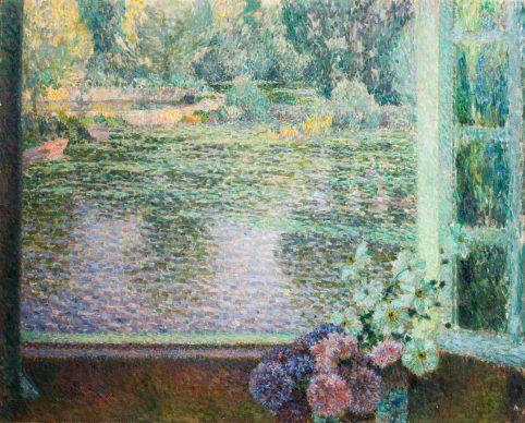 Henri Eugéne Augustin Le Sidaner, La finestra sul fiume, olio su tela, cm 79,5 x 98,4