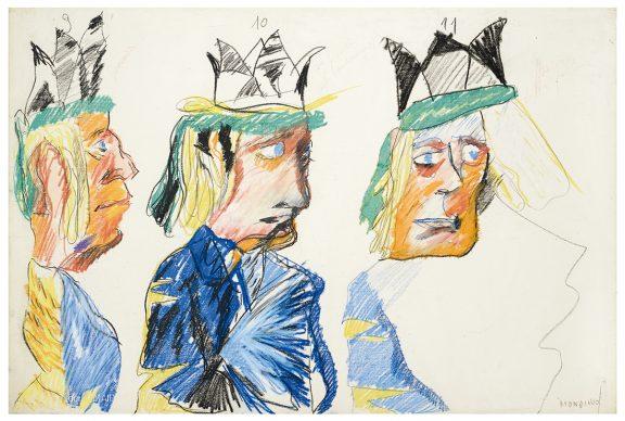 """Mostra """"Chi ha paura del disegno? Opere su carta del '900 italiano dalla Collezione Ramo"""" - Mondino, The king, 1970 - Courtesy Comune di Milano"""