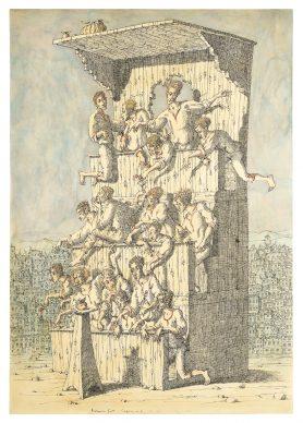 """Mostra """"Chi ha paura del disegno? Opere su carta del '900 italiano dalla Collezione Ramo"""" - Gnoli, Carpice n6 the apple, 1955- Courtesy Comune di Milano"""