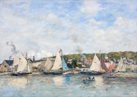 Louis Eugéne Boudin, Il porto di Trouville, 1893, olio su tela, cm 45,1 x 63,7