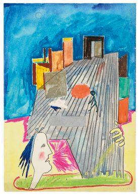 """Mostra """"Chi ha paura del disegno? Opere su carta del '900 italiano dalla Collezione Ramo"""" - Cavaliere, G.B. si innamora della signorina Bene, 1962 - Courtesy Comune di Milano"""