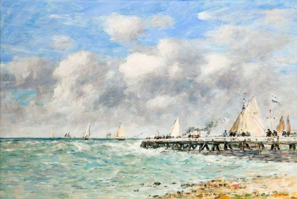 Louis Eugéne Boudin, Il molo di Trouville 1893 olio su tela cm 52 x 77