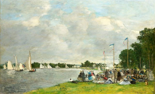 Louis Eugéne Boudin, Regata ad Argenteuil,1866, olio su tela, cm 55 x 72