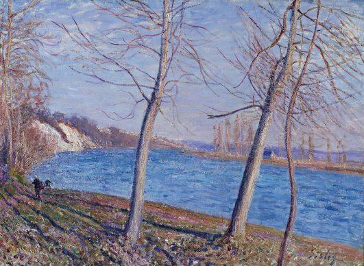 Alfred Sisley, Sulla riva del fiume a Veneux, 1881, olio su tela, cm 59 x 79