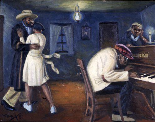 George Pemba, Kwa Stemele, 1981, olio su cartone, cm 33,6 x 43,6