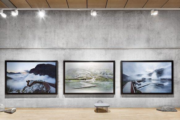 Exhibition view. Latex prints on Aludibond - Trollstigen Visitor Center by Reiulf Ramstad Architects. Norwegian stones.  Photo credit: © Ken Schluchtmann -  diephotodesigner.de