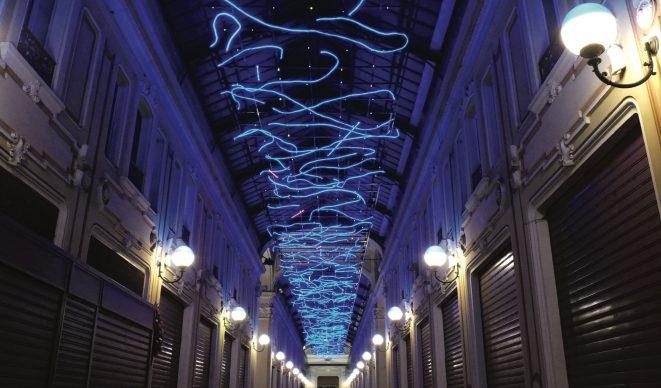 Torino, Luci d'Artista. Marco Gastini, L'energia che unisce si espande nel blu ©  www.comune.torino.it - foto di Max Chicco