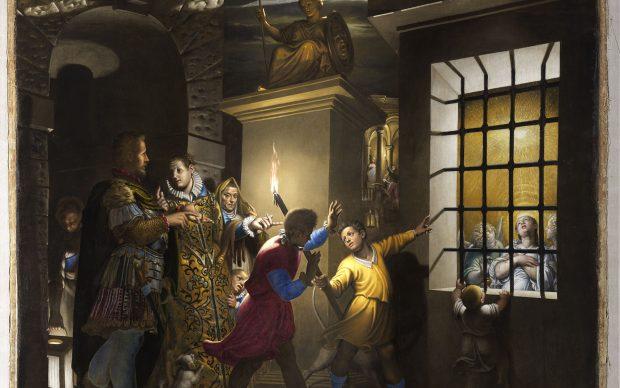 Antonio Campi (Cremona, 1524 – 1587) Santa Caterina visitata in carcere dall'imperatrice Faustina 1584 Olio su tela, cm 400x500 Milano, chiesa di santa Maria degli Angeli-