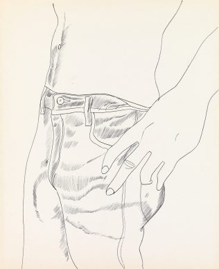 Andy Warhol, Untitled (Hand  in  Pocket), c.  1956. Collection of  Mathew Wolf © The Andy Warhol Foundation for the Visual Arts, Inc. / Artists Rights Society (ARS) New York