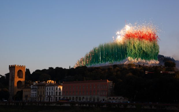 City of Flowers in the Sky: Daytime Explosion Event for Florence 2018 Realized above the Piazzale Michelangelo, November 18, 3:50 pm, approximately 13 minutes 30 seconds Fireworks 170 meters tall