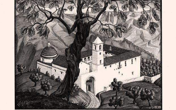 Maurits Cornelis Escher (Chiostro vicino a) Rocca Imperiale, Calabria , 1931 Litporafia, 23,1x30,7 cm Collezione Privata Italia All M.C. Escher works © 2018 The M.C. Escher Company. All rights reserved