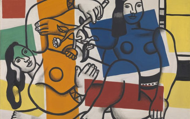 Fernand Léger, 1881-1955 Two Women Holding Flowers 1954 Oil paint on canvas 972 x 1299 mm Tate. Purchased 1959 © ADAGP, Paris and DACS, London 2018