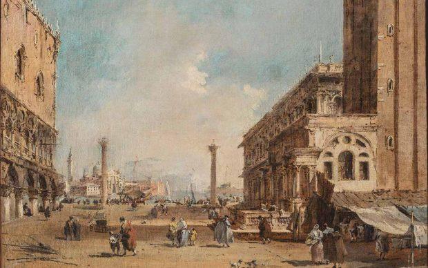 Francesco Guardi: Veduta della Piazzetta a Venezia, 1775 – 1785, Olio su tela, 34х44 cm. Mosca, Museo Pushkin