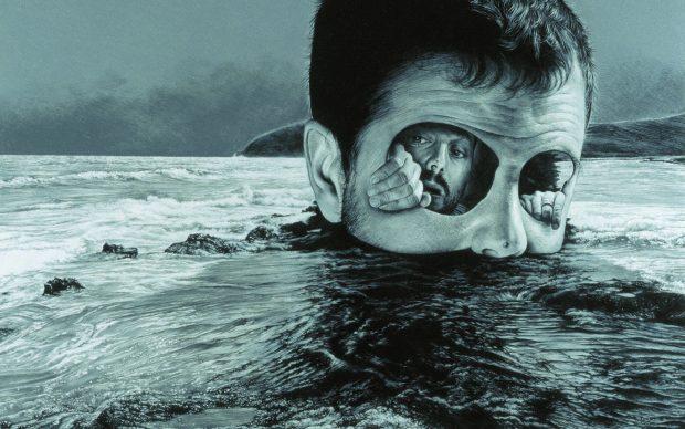 Jose Molina_Naufraghi nel proprio mare_2005_matita grassa su carta_cm49x57,2_collezione Predatores_Ph.Ross&Rheal