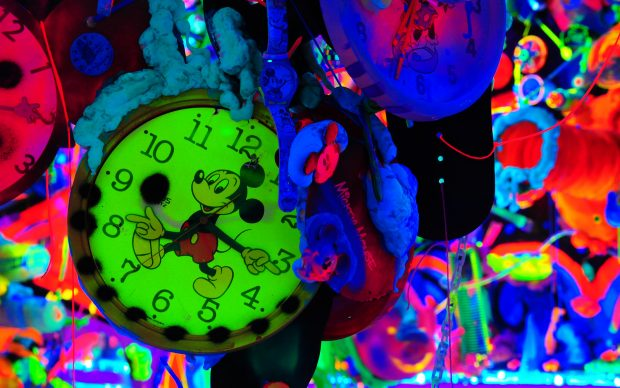 """Mickey Mouse Cosmic Cavern by Kenny Scharf. 'Mickey: The True Original Exhibition"""""""