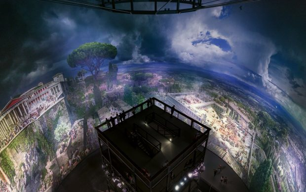 PERGAMON. Meisterwerke der antiken Metropole und 360°-Panorama von Yadegar Asisi Panorama von Yadegar Asisi aus der Vogelschau, Foto: Tom Schulze 2018 © asisi