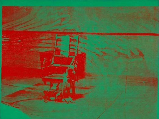 Andy Warhol, Big  Electric Chair,  1967 – 68. The  Art Institute  of Chicago; gift of Edlis/Neeson Collection,  2015.128 © The Andy Warhol Foundation for the Visual Arts, Inc. / Artists Rights Society (ARS) New York