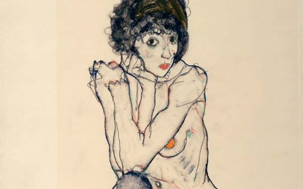 Egon Schiele, Seated Female Nude, Elbows Resting on Right Knee, 1914 Pencil and gouache on Japan paper, 48 x 32 cm The Albertina Museum, Vienna Exhibition organised by the Royal Academy of Arts, London and the Albertina Museum, Vienna