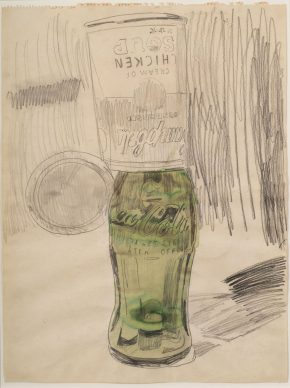 Andy Warhol, Campbell's Soup Can over Coke  Bottle, 1962.  The Brant  Foundation,  Greenwich, CT © The Andy Warhol Foundation for the Visual Arts, Inc. / Artists Rights Society (ARS) New York