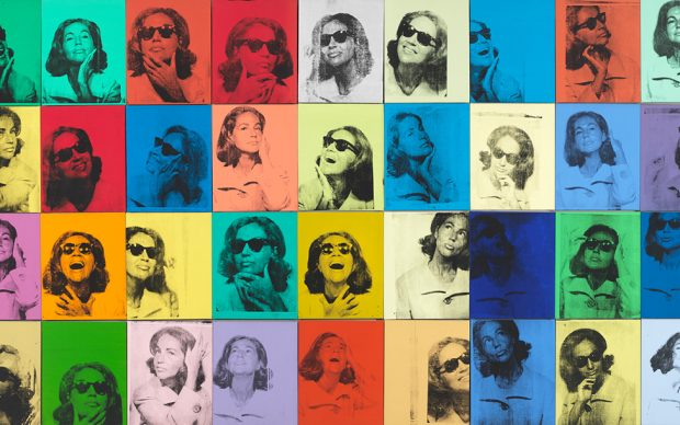 Andy Warhol (1928 – 1987), E thel Scull 36 Times, 1963. Silkscreen ink and acrylic on linen, thirty-six panels: 80 × 144 in. (203.2 × 365.8 cm) overall. Whitn ey Museum of American Art, New York; jointly owned by the Whitney Museum of American Art and The Metrop olitan Museum of Art; gift of Ethel Redner Sc ull 86.61a ‒ jj © The Andy Warhol Foundation for the Visual Arts, Inc. / Artists Rights Society (ARS) New York