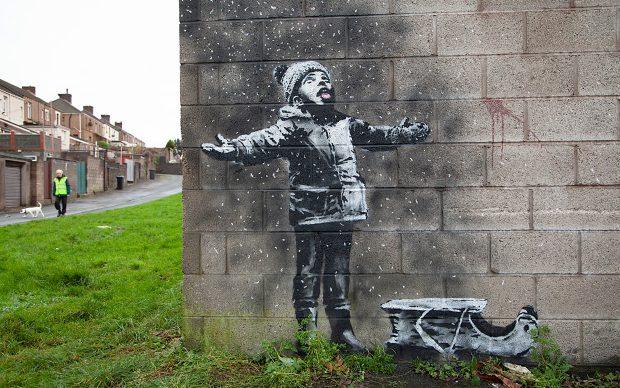 Banksy Murale Port Talbot bambino nevicata