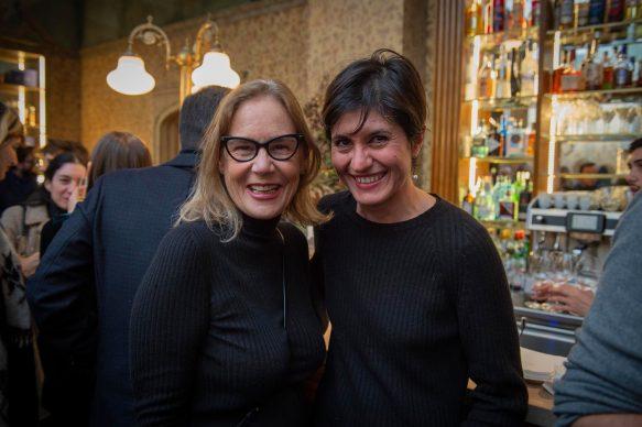 Michela Moro e Paola Nicolin all'opening della videoinstallazione di MASBEDO presso Galleria Cracco a Milano, 2018. Photo by Carmine Conte