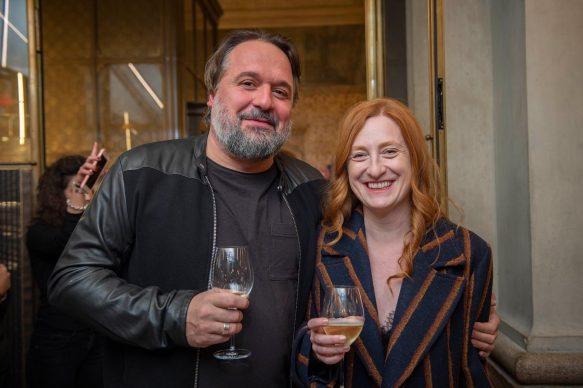 Nicolò Massazza e Federica Fracassi all'opening della videoinstallazione di MASBEDO presso Galleria Cracco a Milano, 2018. Photo by Carmine Conte