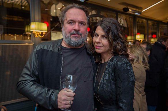 Nicolò Massazza e Geppi Cucciari  all'opening della videoinstallazione di MASBEDO presso Galleria Cracco a Milano, 2018. Photo by Carmine Conte