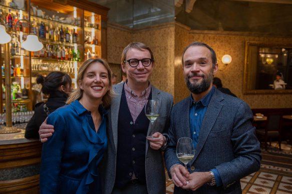 Rosa Fanti, Paride Vitale e Dino Vannini  all'opening della videoinstallazione di MASBEDO presso Galleria Cracco a Milano, 2018. Photo by Carmine Conte