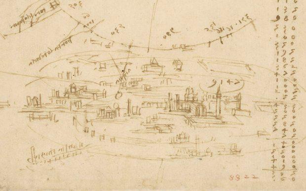Leonardo da Vinci (1452-1519), Codice Atlantico (Codex Atlanticus), foglio 199 verso. In alto, planimetria della città di Milano con l'indicazione delle sue porte; in basso, veduta a volo di uccello della città di Milano.