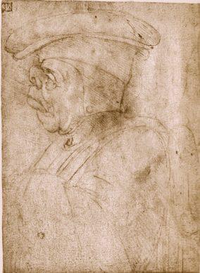 Leonardo da Vinci, Testa maschile grottesca, 15 x 11 cm, Milano, Biblioteca Ambrosiana