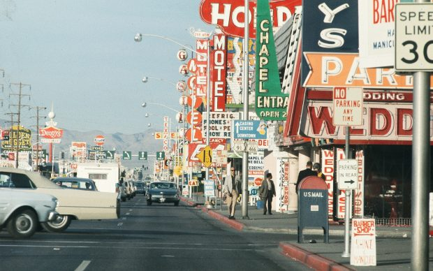 """Venturi Scott Brown and Associates 04 Advertising signs on the Strip, 1968 © Venturi Scott Brown and Associates; courtesy by Museum im Bellpark Kriens from the """"Las Vegas Studio""""-project curated by Hilar Stadler and Martino Stierli"""