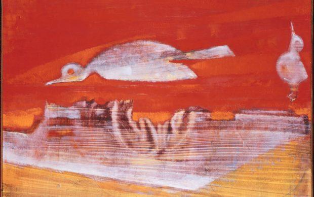 Max Ernst L'oiseau rose, 1956 Der rosa Vogel / The Pink Bird Öl auf Leinwand Staatliche Museen zu Berlin, Nationalgalerie © VG Bild-Kunst, Bonn 2018 bpk / Staatliche Museen zu Berlin, Nationalgalerie / Jörg P. Anders