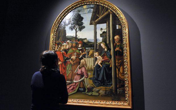 Perugino, Adorazione dei Magi, 1475 circa, veduta dell'esposizione in Sala Alessi - Palazzo Marino, Milano