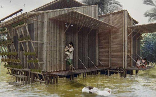 Politecnico Torino Casa sostenibile galleggiante bambù