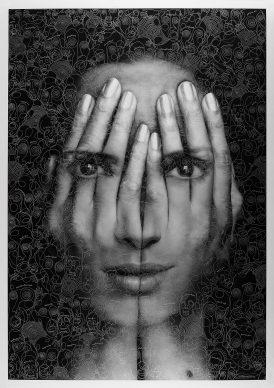 Tigran Tsitoghdzyan, Mirror II, Mixed media on paper - Mostra Beyond Reality, 13-28 dicembre 2018, Opera Gallery, Londra