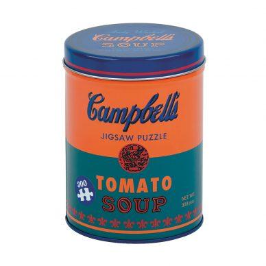 """PUZZLE """"IN SALSA"""" WARHOL  Chissà cosa avrebbe pensato Andy Warhol di fronte al puzzle che raffigura - due volte - una delle sue più note opere. I 300 pezzi da montare, tutti in carta riciclata al 90%, si trovano all'interno del contenitore di latta che riproduce l'immagine da montare. Tanto per continuare a riflettere sul tema """"copia vs originale""""!"""